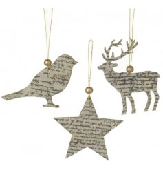 A beautifully simple assortment of hanging Deer, Stars and Birds