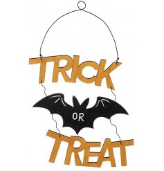 A spooky Trick or Treat Halloween hanging sign