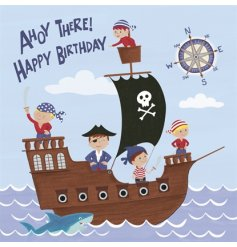 A colourful and fun pirate themed Happy Birthday card.