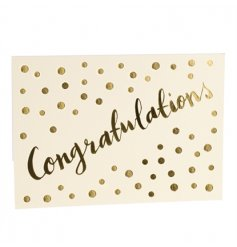 A stylish gold foil debossed Congratulations card which is blank inside for your own message.