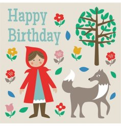 A colourful and beautifully designed Little Red Riding Hood Happy Birthday card with envelope, left blank inside.