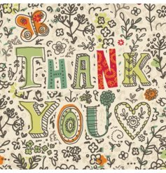 "Nature Lovers floral ""Thank you"" greetings card with envelope, blank inside."
