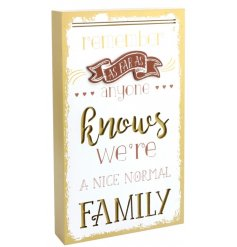 A stylish gold painted 3D plaque with a comical family quote