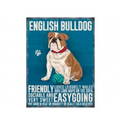 A mini metal sign with a bulldog illustration with characteristics listed.