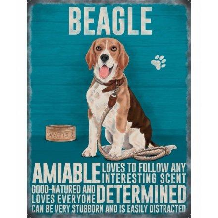 Beagle Mini Metal Hanging Sign 9cm