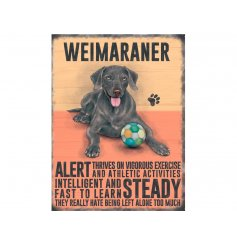 A charming metal sign with a Weimaraner image and dog breed characteristics.