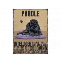 A charming metal sign with a Black Poodle image and dog breed characteristics.