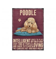 A charming metal sign with an Apricot Poodle image and dog breed characteristics.