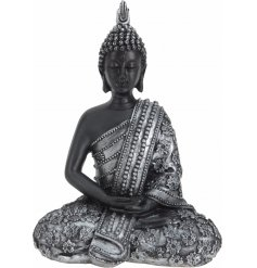 A fine quality black and silver thai buddha ornament. A chic home accessory.