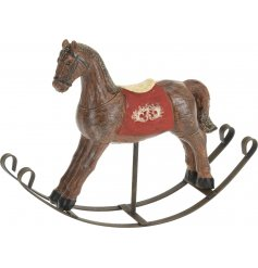 A beautiful resin based rocking horse styled to look wooden and distressed