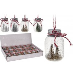 A simple assortment of 4 snowy tree scenes in hanging bottles
