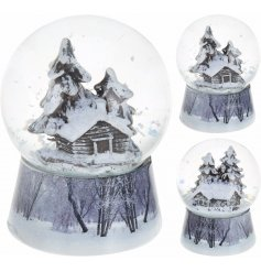 A beautiful assorted set of resin based winter themed village snow globe.