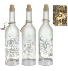 A mix of 3 enchanting glass bottles with LED lights, a cork lid and festive slogan.