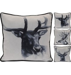 A mix of 3 stylish reindeer design cushions in monochrome colours.