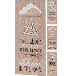 An assortment of 3 stylish natural and white wooden signs with popular life slogans.