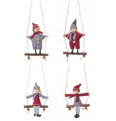 A mix of 4 charming boy and girl hanging ornaments with swing.