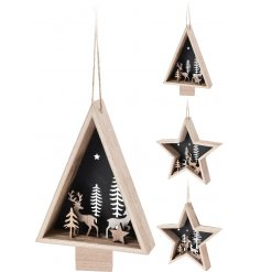 A mix of 4 unique 3D star and tree hanging decorations each with a charming woodland scene with reindeer.