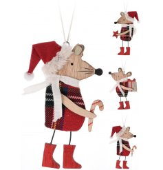 A mix of 3 hanging wooden mice decorations with festive gifts and tartan outfits.
