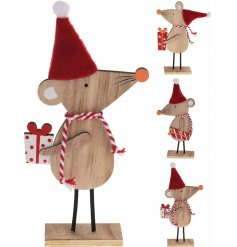 A mix of 3 wooden mice decorations with Santa hats, string scarves and festive gifts.
