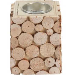 A charming woodland style wooden sliced t-light holder.