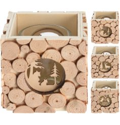 A mix of 3 wooden slice t-light holders, each with a laser cut woodland and festive scene.