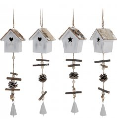 An assortment of 2 shabby chic style bird house hangers in star and heart designs. Complete with bell and pinecones.