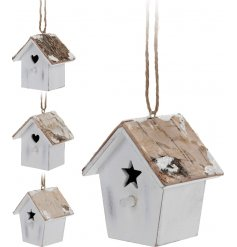 A shabby chic style birdhouse decoration with jute string hanger and a glitter snow dusted roof.