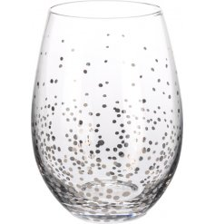 A stylish glass with a silver confetti design.