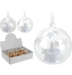 A chic bauble with glitter stars and an LED light.