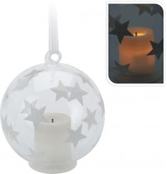 Clear Christmas Bauble With Silver Glitter Stars And Tealight 8cm