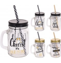 A mix of 4 black and gold celebration Mason Jars with straws. These slogan drinking jars are perfect for many occasions!
