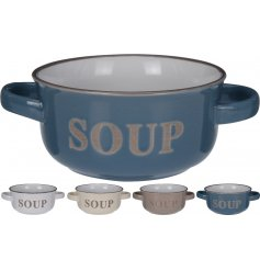 An assortment of 4 chic soup bowls with handles. The colours are fresh with an air of coastal charm.