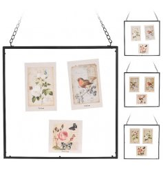 A mix of shabby chic style photo frames with metal hanger.