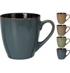 An assortment of 4 earth coloured stoneware mugs.