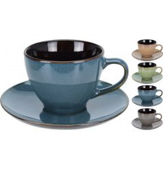 A mix of 4 earth coloured cup and saucers. A stylish item for the home.