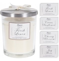 A mix of 4 beautifully designed premium candle pots with bow. Each contains a fresh scented candle.