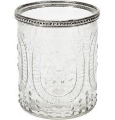 Add a touch of elegance to your home with this delicate patterned ridged candle pot