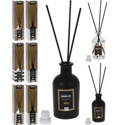 A stylish line of assorted reed diffusers in a matte black look