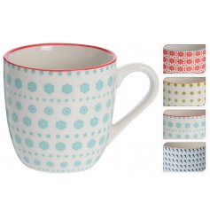 An assortment of 4 colourful multi-patterned mugs. A great gift item and home accessory.