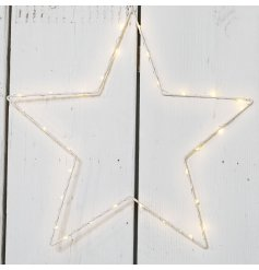 A stunning white wire star decoration with LED lights.