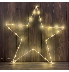 A chic star shaped decoration with LED lights. A must have item for the home and events.