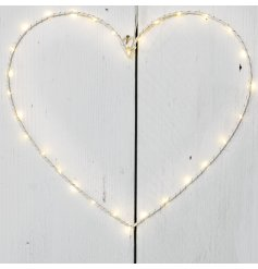 A stunning light up heart decoration in white with LED lights.
