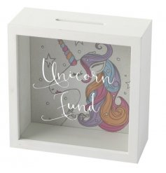 This smooth wooden framed money box will be the perfect way for you to save up for those unicorn dreams!