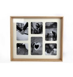 a beautifully simple natural toned wooden picture frame with a collage themed setting