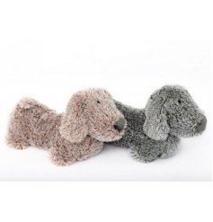 An adorable pair of fluffy dog door stops