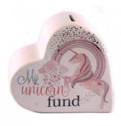 A pink ceramic heart shaped money box with unicorn