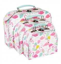 A set of 3 stylish and practical carry case storage boxes from the popular Flamingo Bay range.