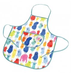 Get messy with this colourful Monsters of the World apron with a handy front pocket.