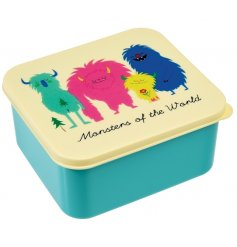 A child friendly square lunch box from the popular Monsters of the World range.