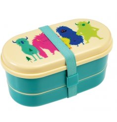 A fun and practical 3 compartment bento box with spoon, fork and nylon strap. In the popular Monsters of the World